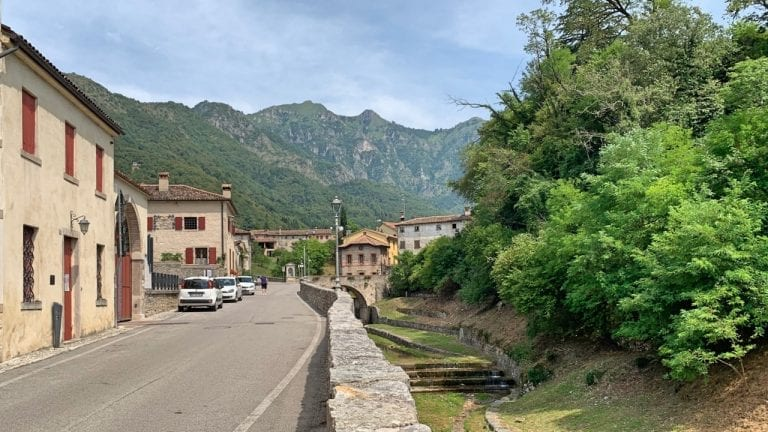 it is only a 5 minute ride with the cable car from the castel to the little town where is super quiet and peaceful to explore