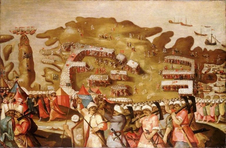 a painting of an ancient war happened in malta