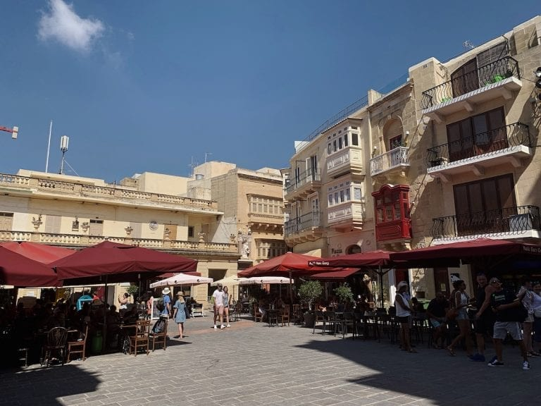 the old city center of gozo which is very layback and different from valletta