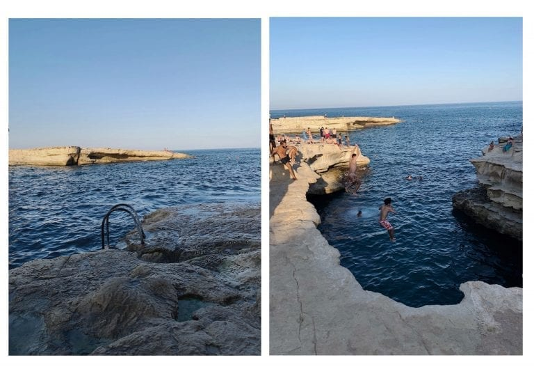 cliff jumping at st.peter pool in malta