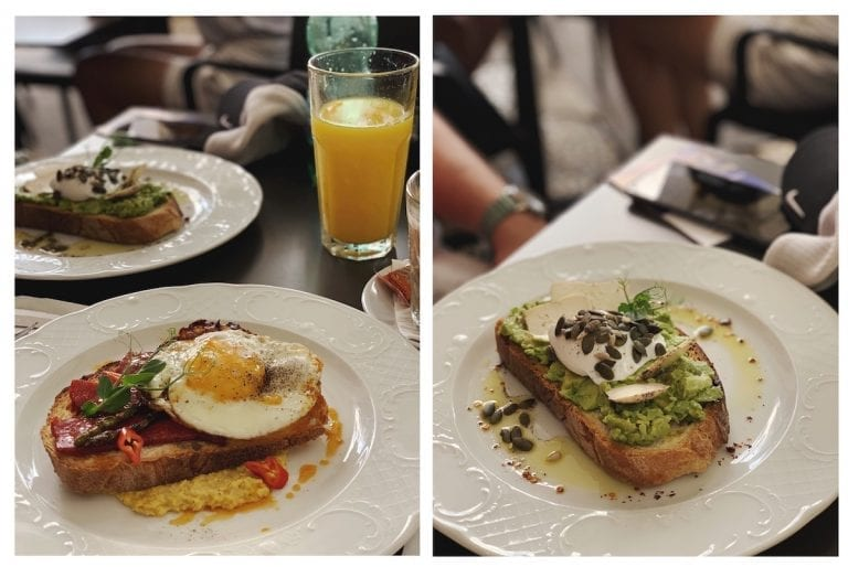 avocado toast and special corn puree brunch in valletta city to start our malta vacation