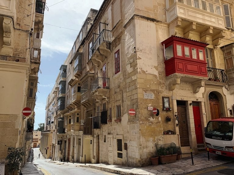the typical malta architecture with a mixed european and middle east features in valletta city