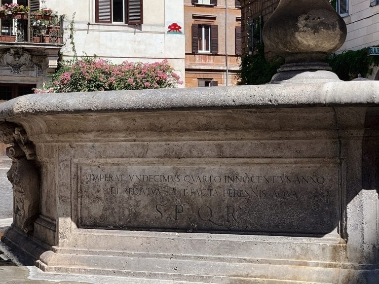 the SPQR symbol frequently shows on the public facilities in rome for example the fountain
