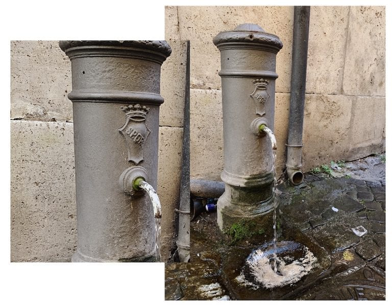 the fountain with free water supply in the whole rome city also have SPQR sign