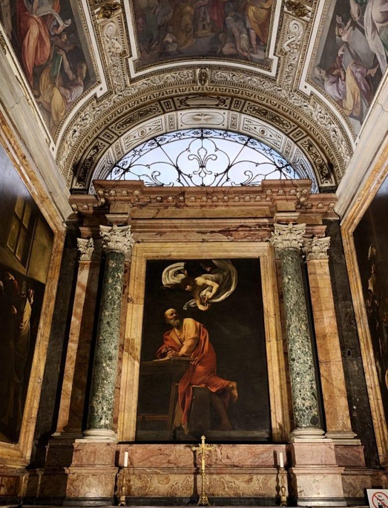 3 day rome itinerary_caravaggio fresco painting at Church St Luigi di Frachaise