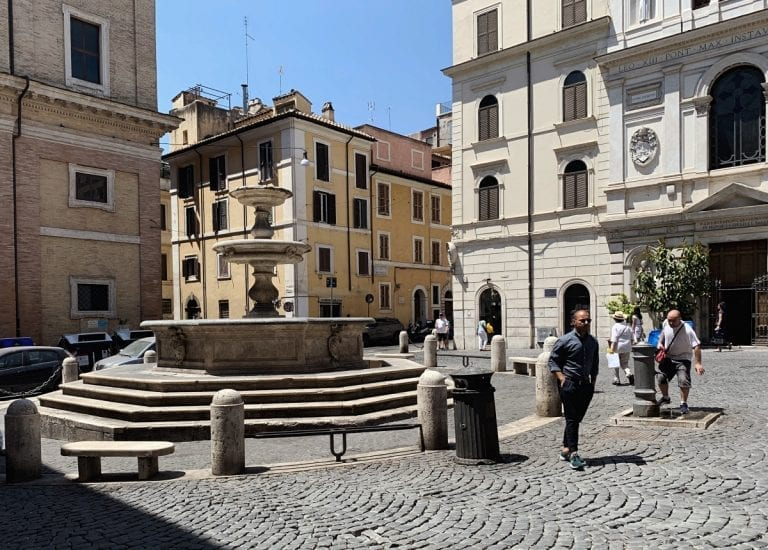 cavour fountain as the center of this old neighborhood in rome