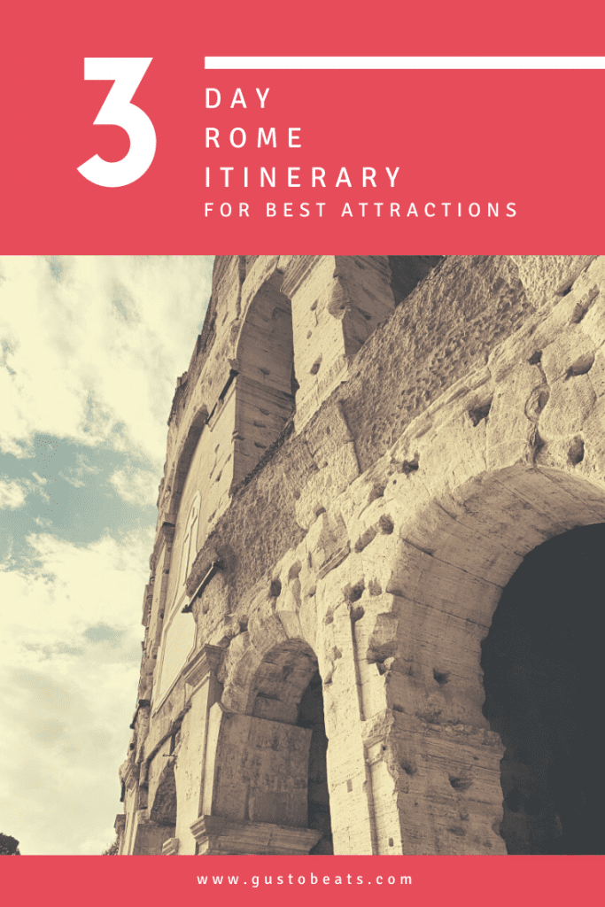 3 day rome itinerary pinterest pin photo of colosseum