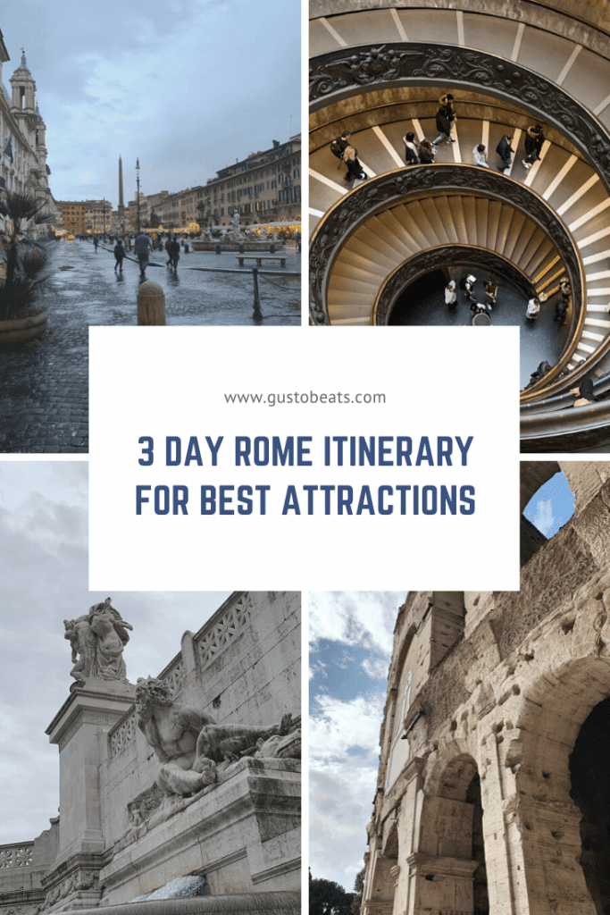 3 day rome itinerary pinterest pin photo of rome attractions