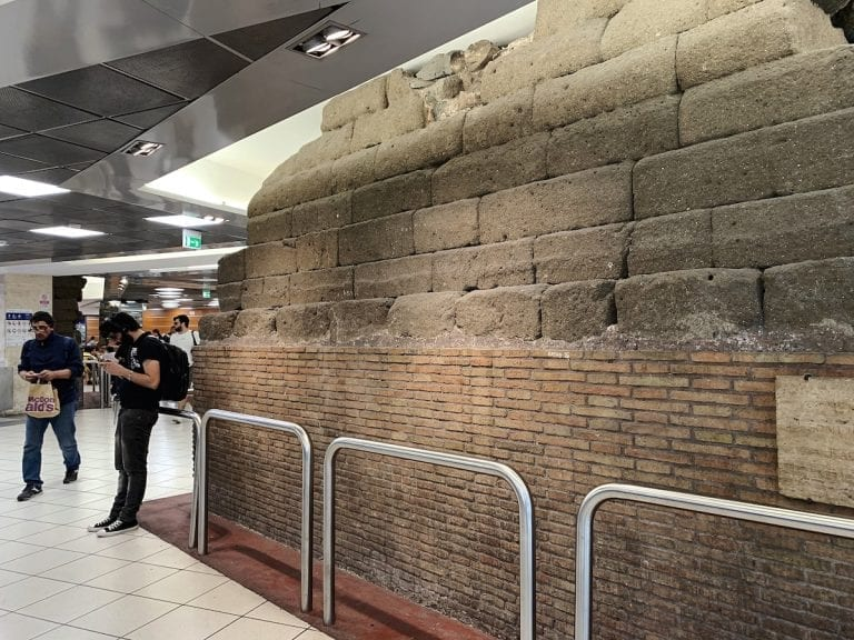 part of the ancient roman wall is under the roma termini which we can even see now
