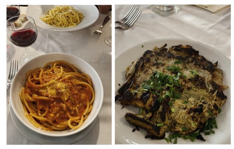 traditional Roman dishes from the restaurant in testaccio