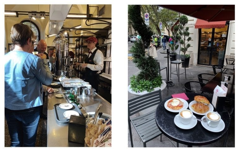 lovely coffee vibe in the bar and classic service in their outdoor space at panella panificio