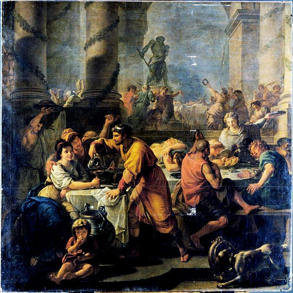 top 3 historic facts about rome for christmas_painting of saturnalia by antoine callet