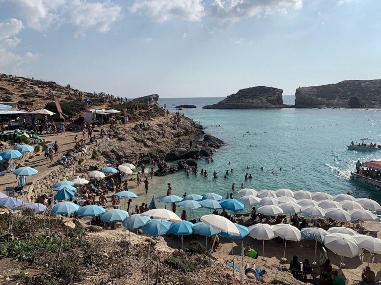 blue lagoon near gozo island is the most famous in malta