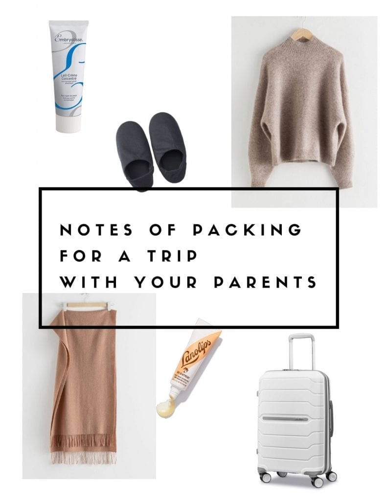 notes of packing for a trip with your parents profile and pinterest pic