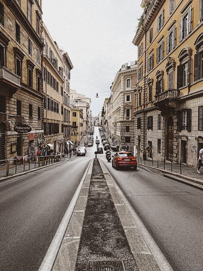 a special way to enter cavour streets while seeing the up and down hills of rome