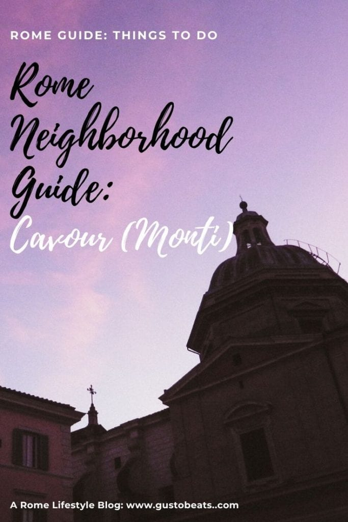my favorite rome neighborhood_things to do in cavour_pinterest image with purple sunset