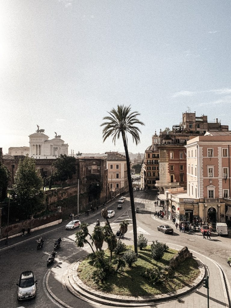 the view of rome busy streets and part of piazza venezia from villa aldobrandini garden in the air