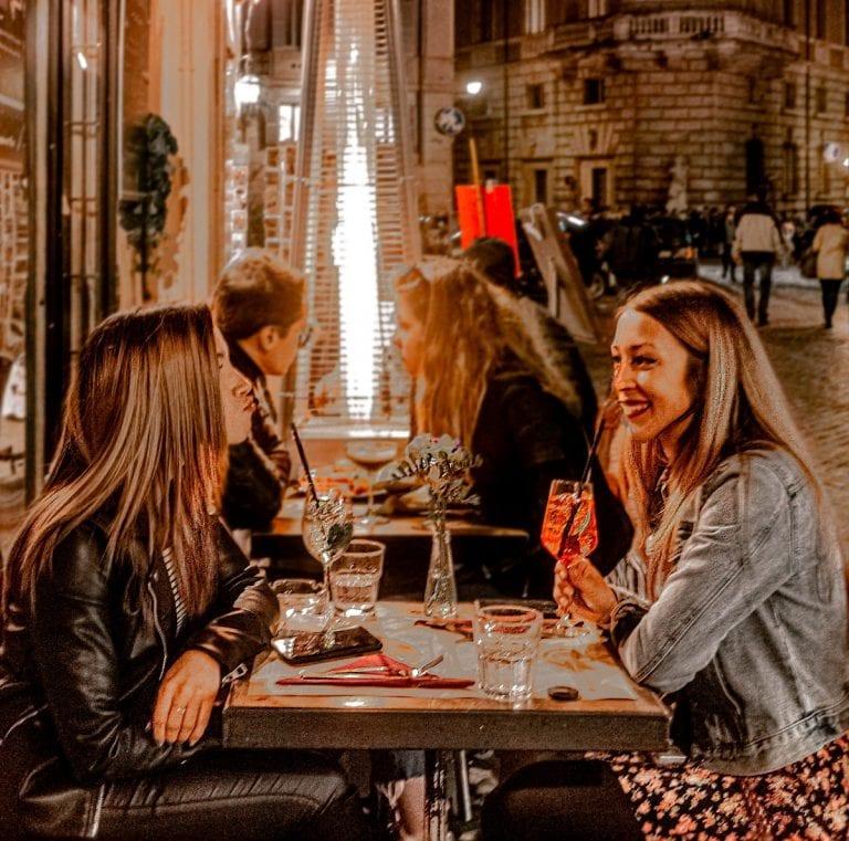 travel girls at Bistro and Wine bar Pasquino in rome