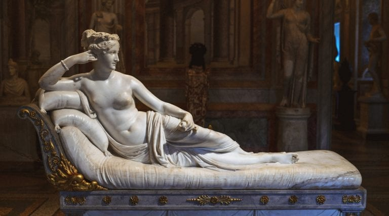antonio canova master piece marble sculpture for paulina bonaparte in galleria borghese in rome