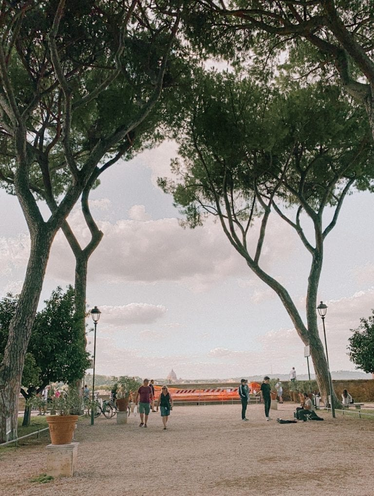 the viewpoint of rome city from the orange garden on aventine hill