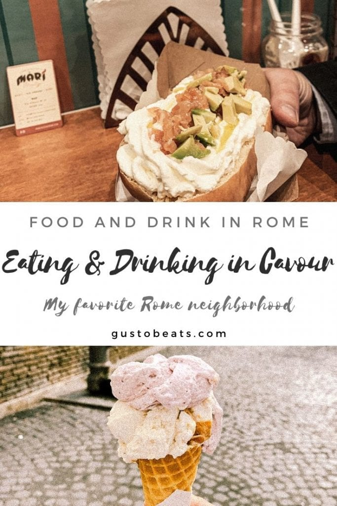 pinterest image for the new blog post about food and drink in cavour as my favorite rome neighborhood