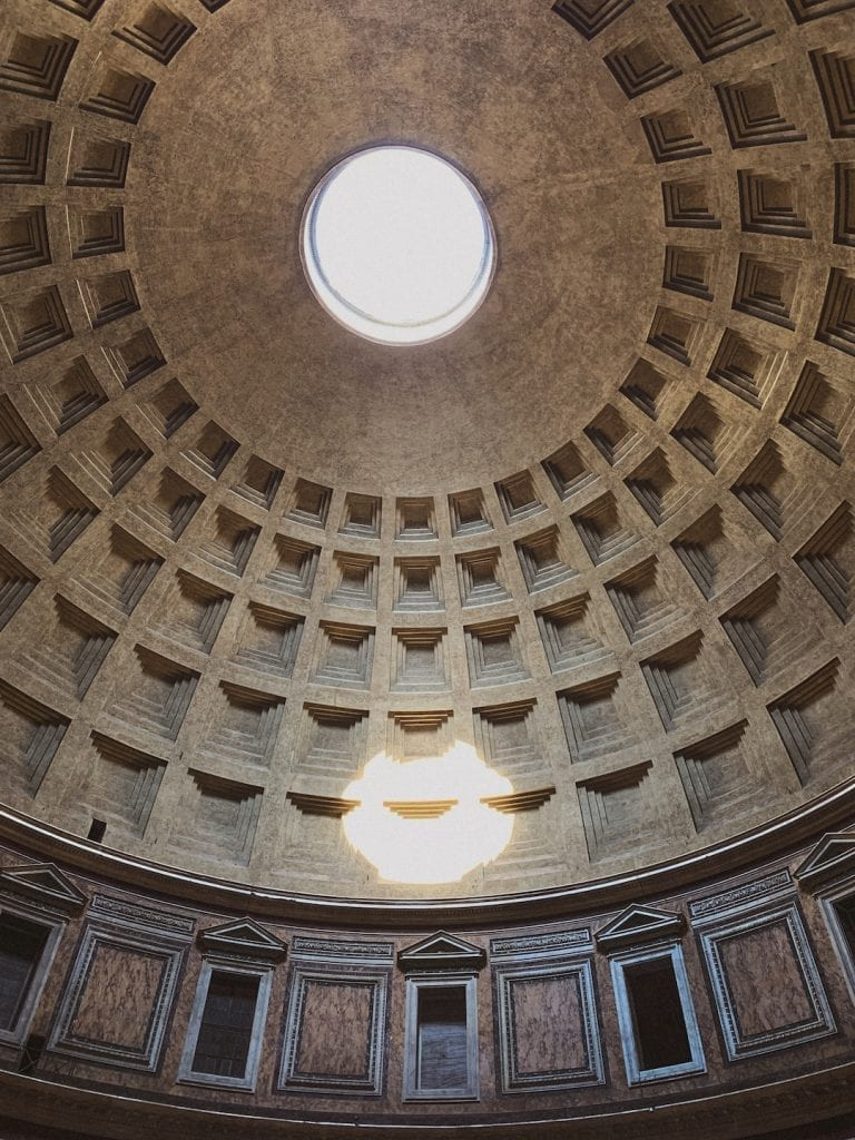 the big hole of the Pantheon is the biggest and the oldest in the world as a miracle of ancient Roman's architecture
