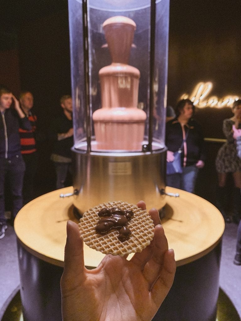 before starting the chocolate museum tour we are treated with a chocolate fountain