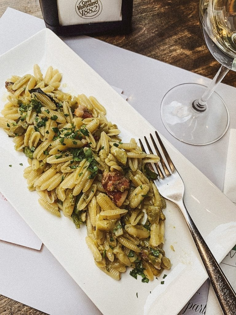 gnocchetti with bacon and mint is a new style of pasta dish by civico 4 in cavour of rome which is simple and yummy