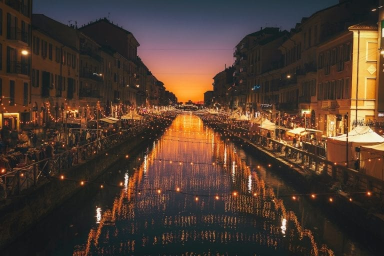 navigli in milan is the most famous place for italian's nightlife and it is also the place where the people go for the famous italian aperitivo