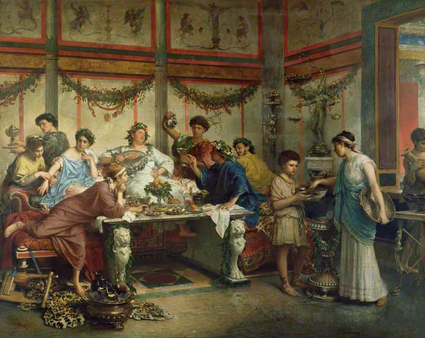roman gustatio means the big feast or banquet before dinner which normally include salt bites and drinks with higher alcohol content