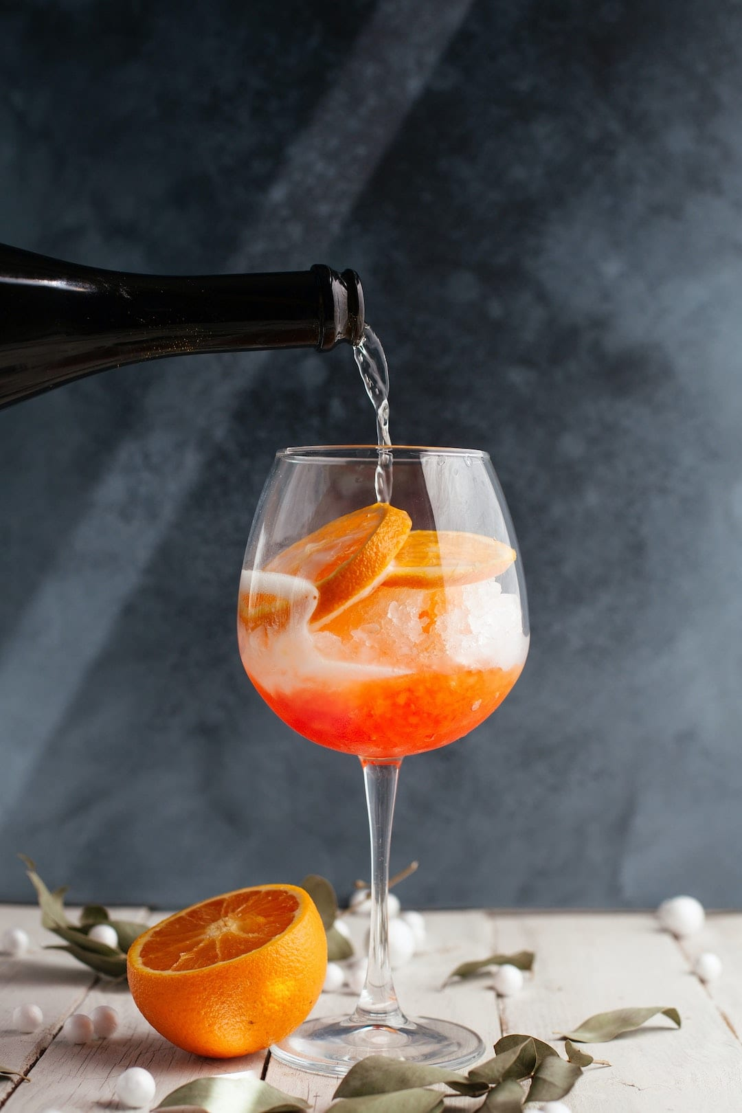 the popular italian cocktail spritz for their aperitivo culture has the lovely orange color and bitter sweet taste