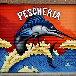 a fish shop has its roller shutter painted with colorful pescheria graffiti in Rome
