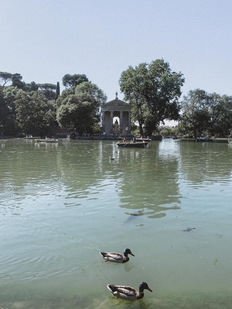 gustobeats how rome and italy feel from my visual diary june 2020 with the beautiful artifical lake inside Villa Borghese Rome