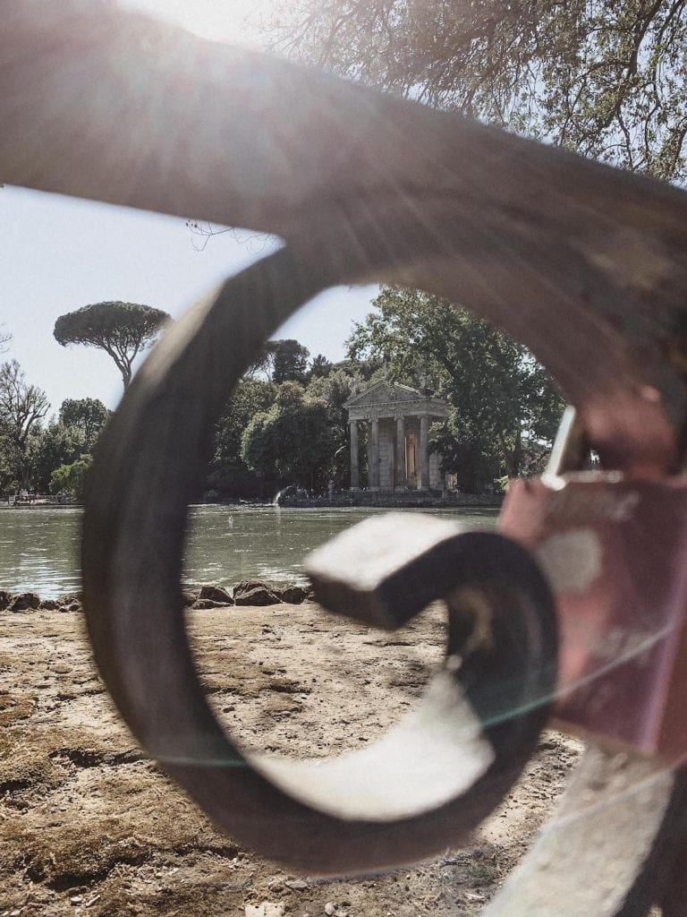 gustobeats how rome and italy feel from my visual diary june 2020 with a love lock near the lake inside Villa Borghese