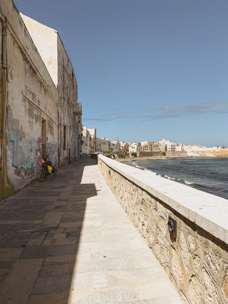 the long seaside belvedere in Trapani is the best location for a sunset or night walk when the heat is faded
