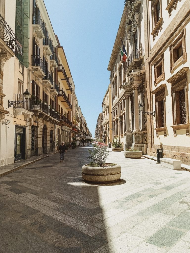 Trapani's busiest street with restaurants and bars and special architectures
