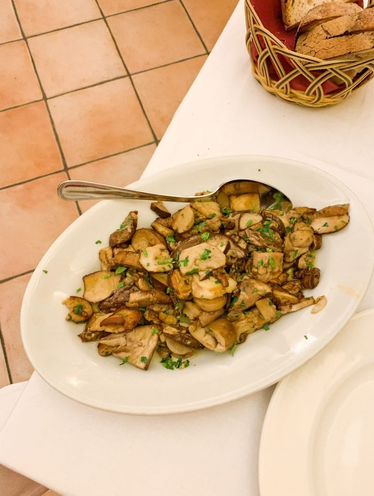 off-the-menu dish with fresh porcini tasted from the woods and cooked in the simpliest way but tastes like from the heaven, the best restaurant in Trastever in Rome, Trattoria da Teo