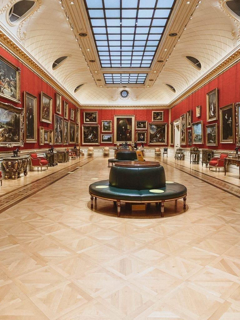 Great Gallery Room inside The Wallace Collection (Gallery/Museum) in Marylebone in London. The gallery itself is a beautiful mansion and it collects many amazing paintings, furnitures and decorations of 18th and 19th centuries.