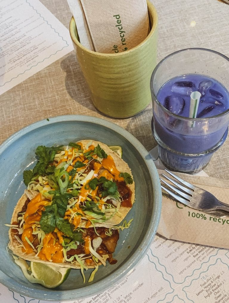 You must try the butterfly latte with organic matcha and almond milk in fancy purple and blue as well as the super hot but yummy tacos
