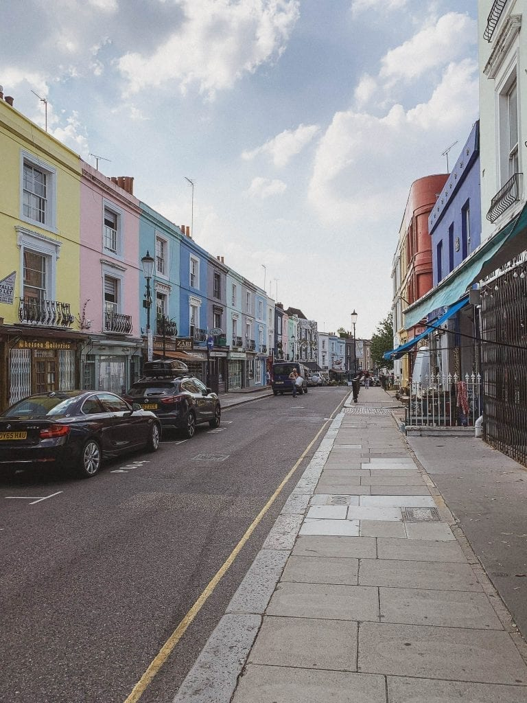 The colorful houses are the icones of Notting Hill in London.