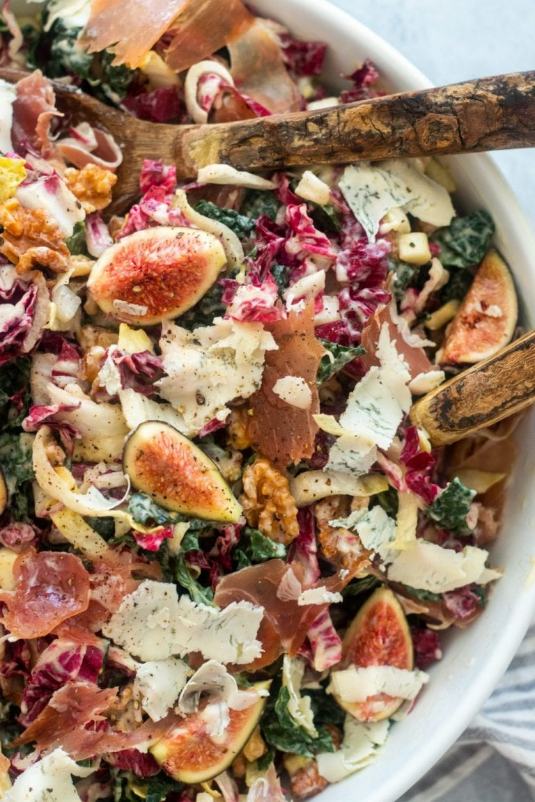 kale salad with prosciutto and figs by giadzy