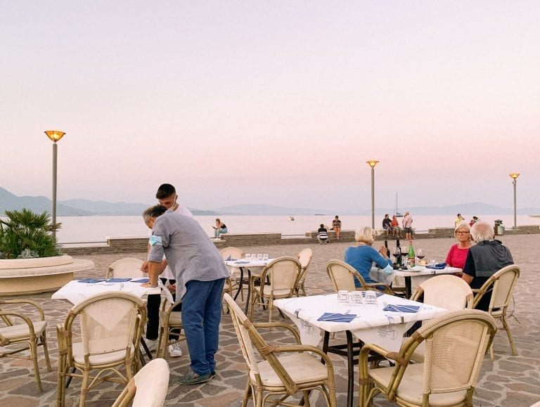 Unexpectedly, Pizzeria da Ciro in Gaeta where is on the opposite side of the public beach, has the best romantic summer sunset with a shade of orange, pink and purple.