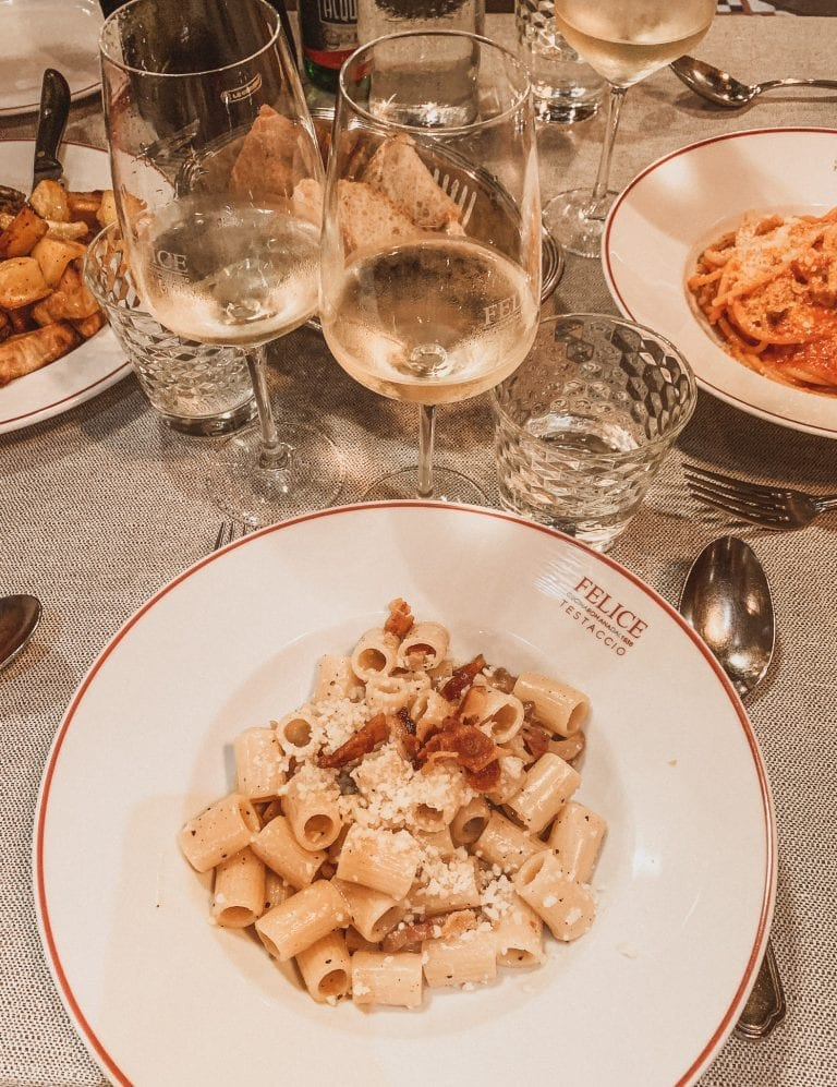 Where to eat in Rome September list, Felice a Testaccio is considered as one of the places in Rome for the best carbonara dish.