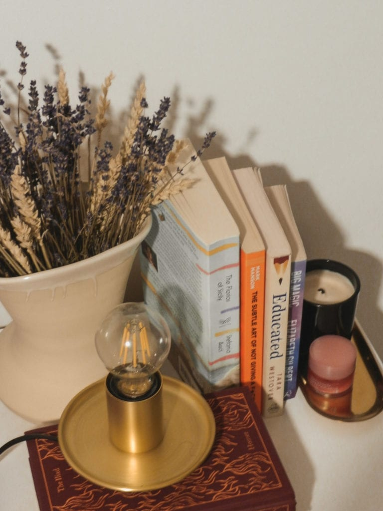 a snap of my bedside table with some books and some essentials for the night