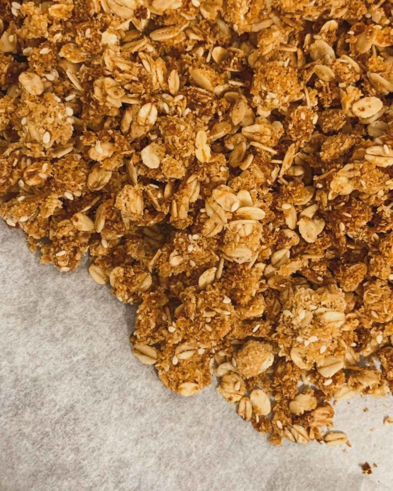 crunchy homemade granola with oats directly from my pantry and everything on hand