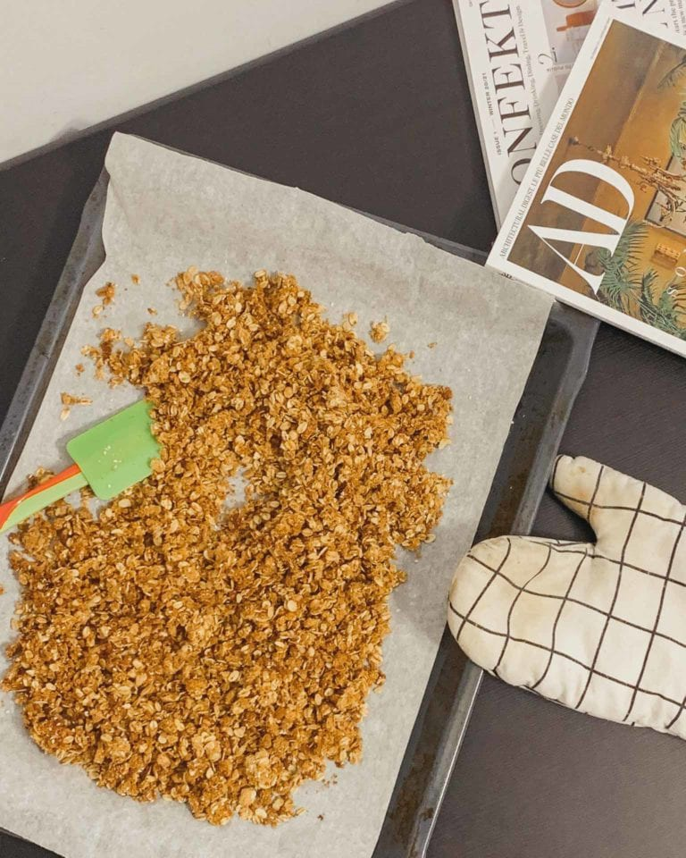 homemade granola with oats, raw honey, and extra virgin olive oil