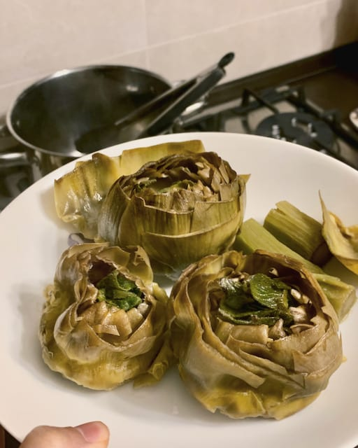Cooking Italian artichokes at home is very easy. Usually it is just boiling for around 10 minutes more or less.