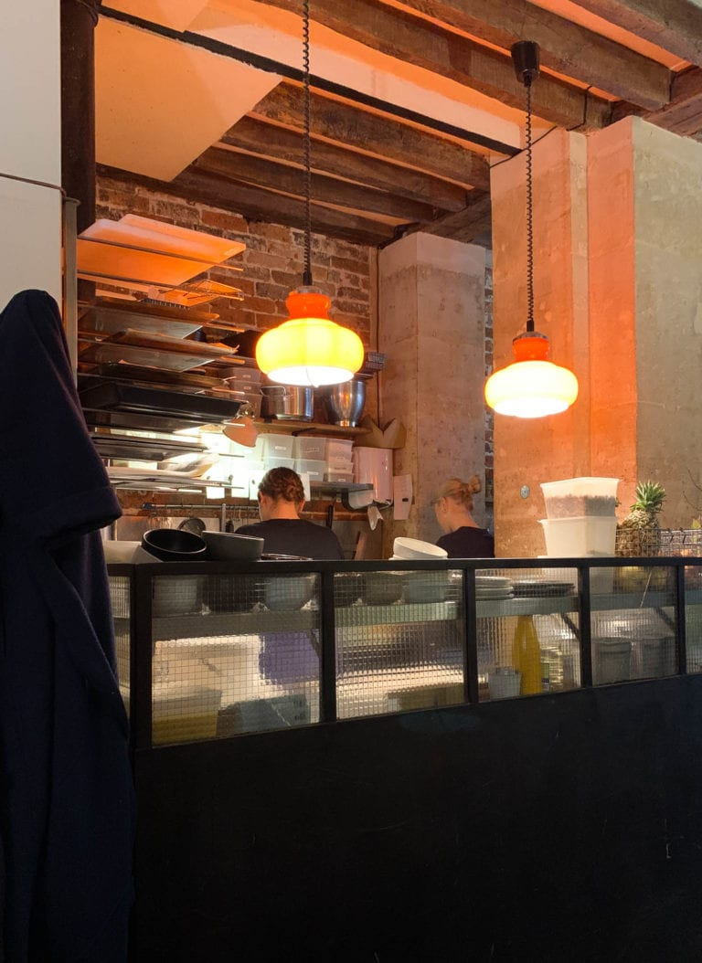 famous fragments cafe in Paris city center with all warm tones