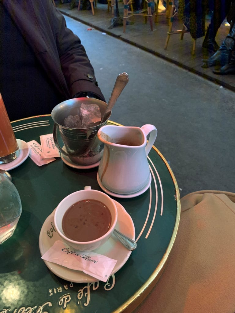Luxury hot chocolate at Cafe de Flore