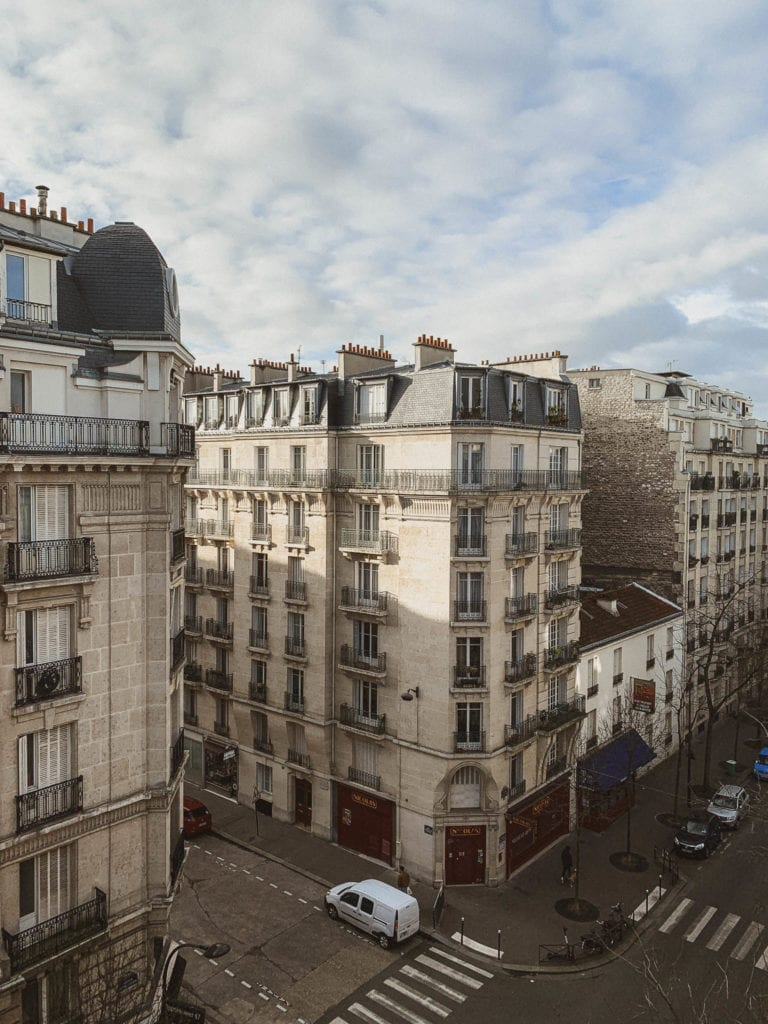 typical Paris buildings and local neighborhoods outside city center